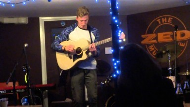 Tim at The Zed Music Cafe, Sevenoaks - playing one of the Cole Clark Guitars